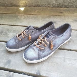 Sperry Topsider Metallic Seacoast Boat Shoes 8.5 Preppy 80s Leather